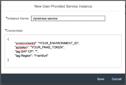 Create a user-provided service in SAP CloudFoundry