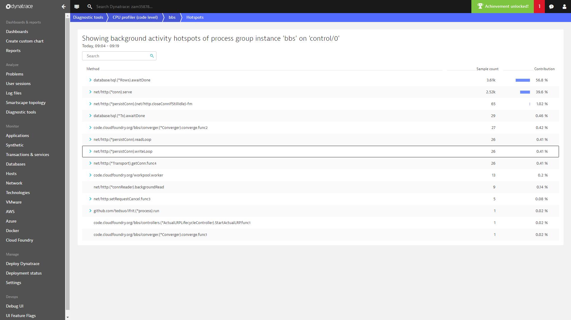 Golang based application monitoring