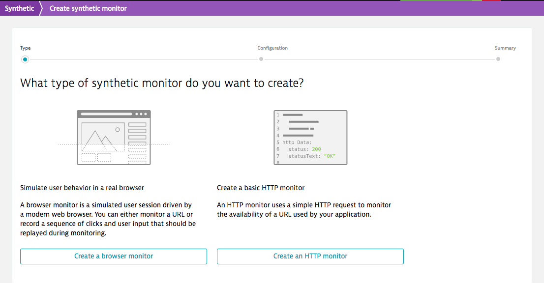 Create HTTP monitor from Synthetic tab