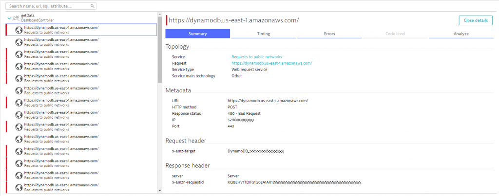PurePath also shows all details to outgoing web requests, e.g: details when calling the DynamoDB API