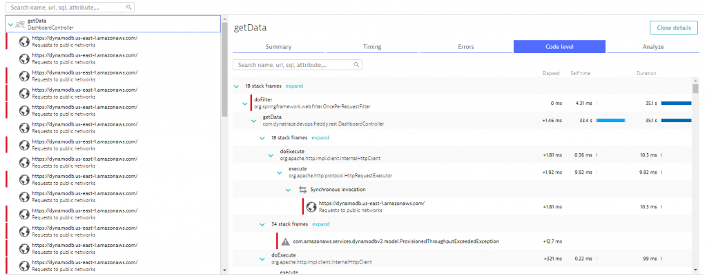 PurePath provides Code level details with timing information, call sequences as well as exception information.