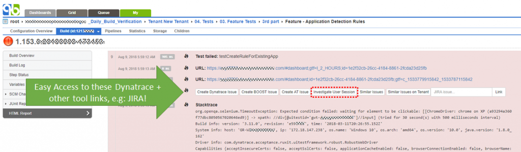 Generated links to Dynatrace and other tooling easy accessible in the Quick Build HTML Result View!