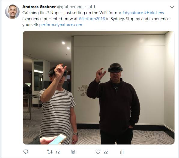 Two of my colleagues diving into the Dynatrace HoloLens experience!