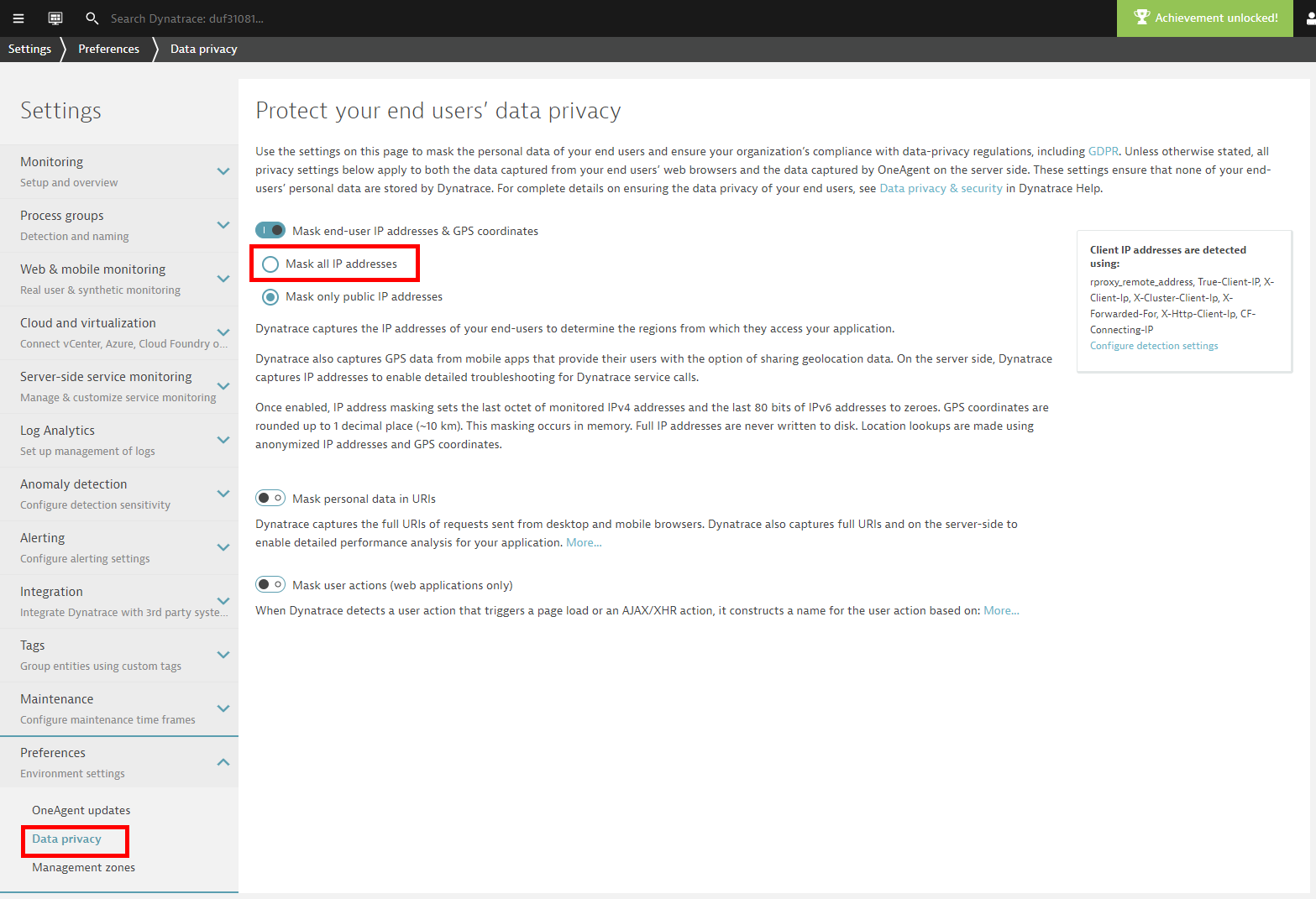 Data privacy settings for IP address masking