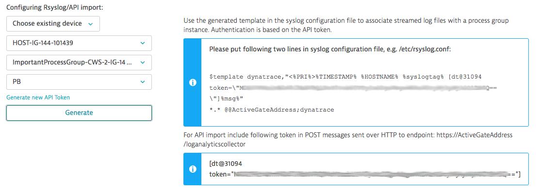 Rsyslog / API import template configuration