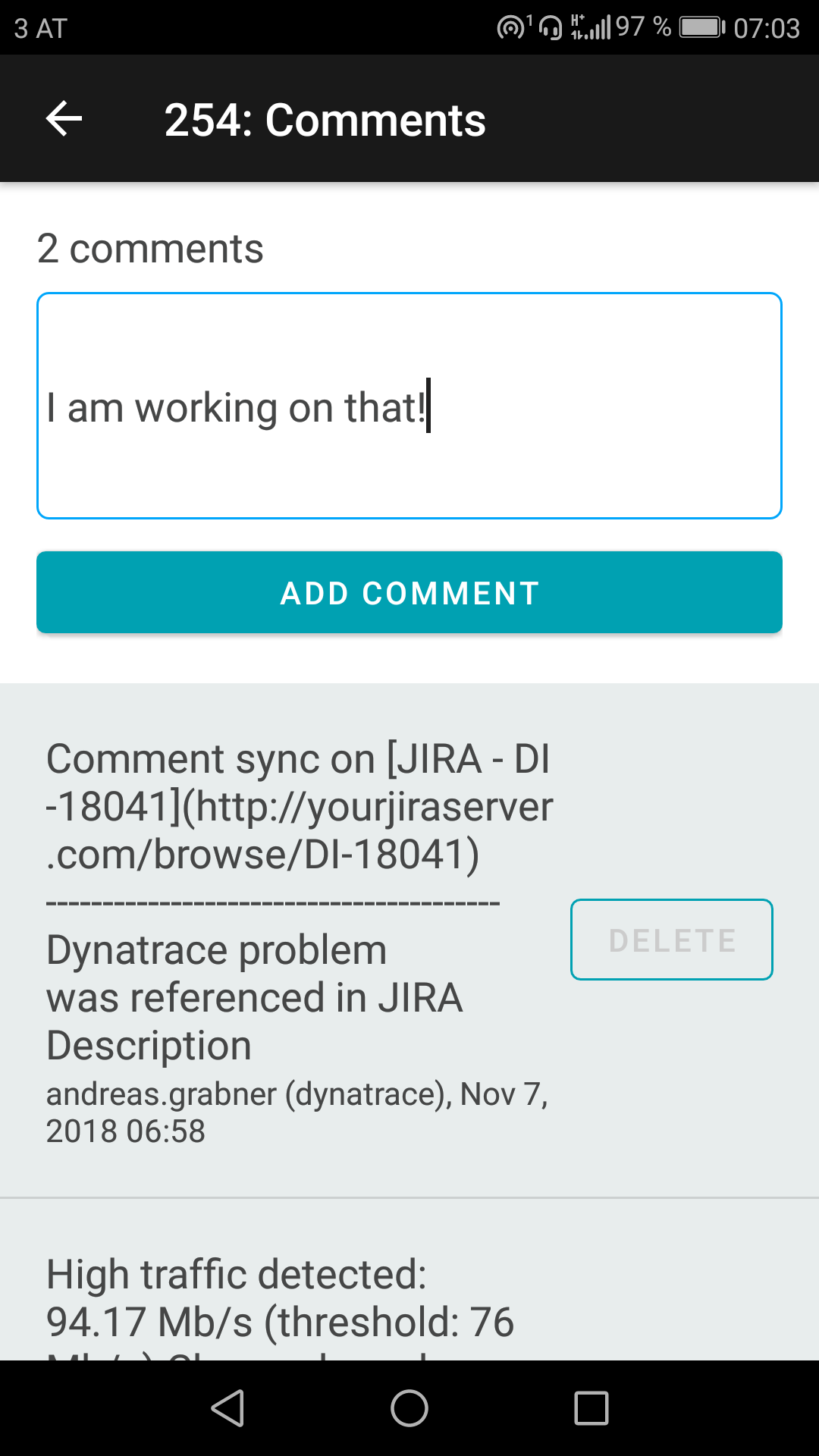 Problem comment details in Dynatrace mobile app