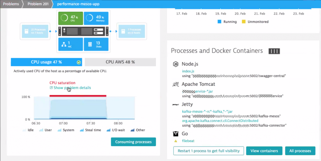 The Dynatrace OneAgent gives full visibility into every process and container running on this EC2 Linux machine
