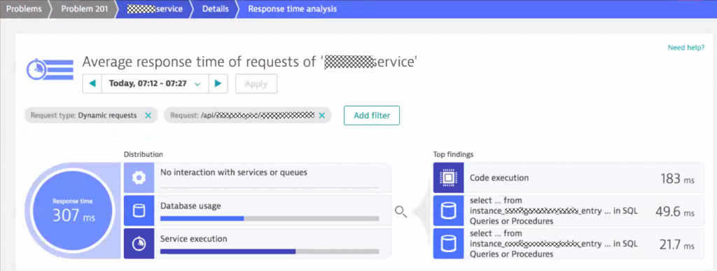 Response time analysis highlights the top hotspots down to SQL statements, queue access, service calls or method execution.