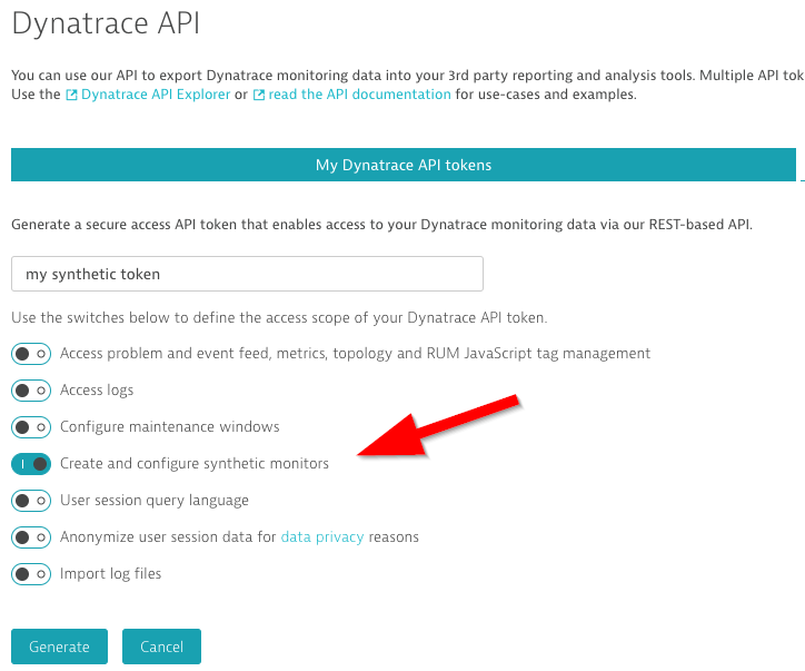 Generating an API token for external synthetic data