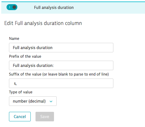 Controls for automatically parsed column from raw log file