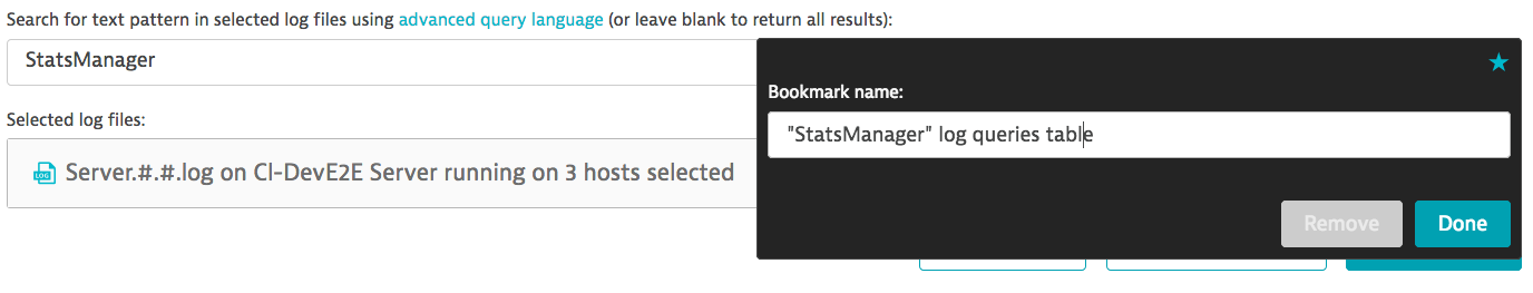 Table bookmarked as a query in the Log viewer query window