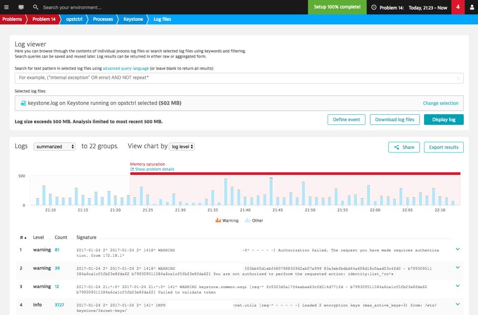 Log viewer for Keystone log file on controller node