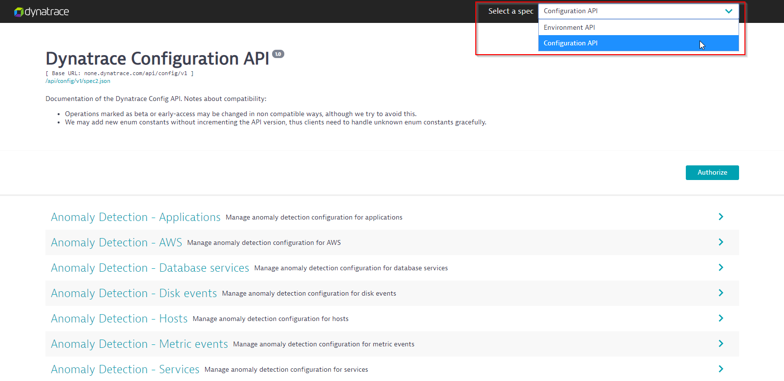 Configuration API in the API Explorer