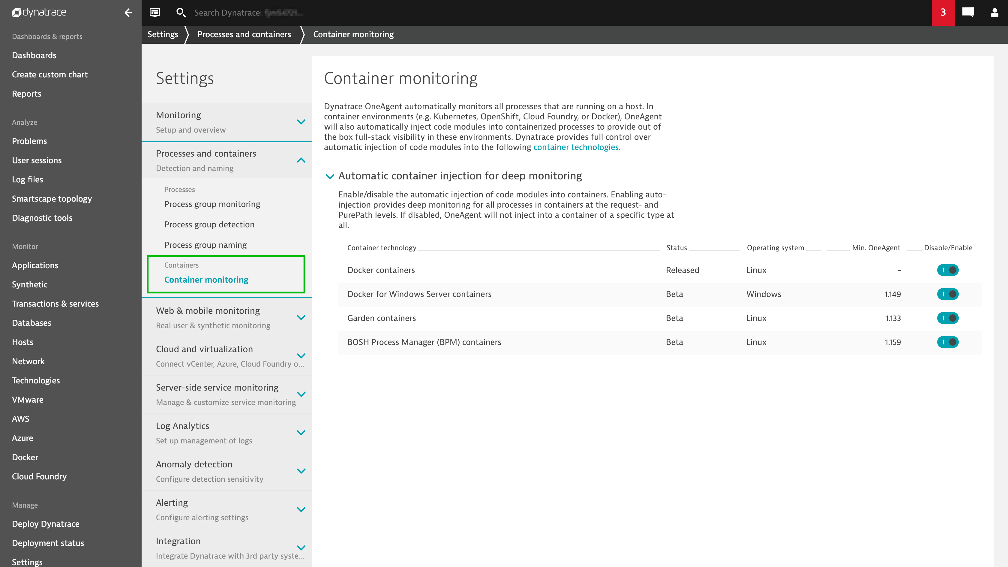 New container monitoring settings page