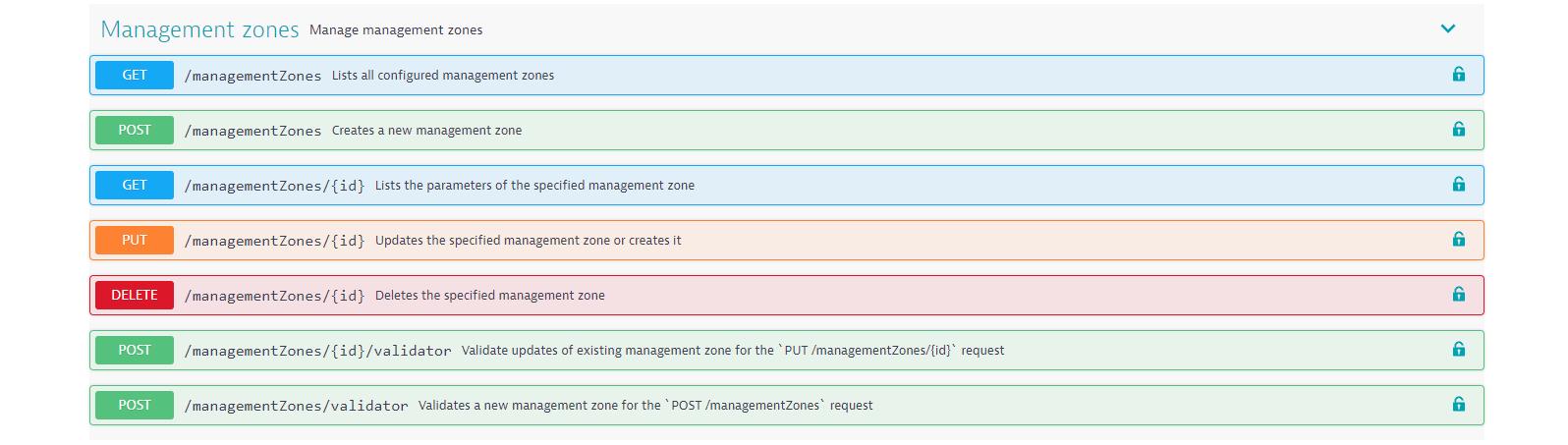 Configuration API endpoints for management zones