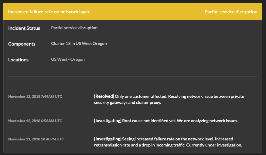 Incident details on Dynatrace status page