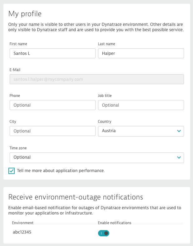 User profile page with switch for opting in to email notifications