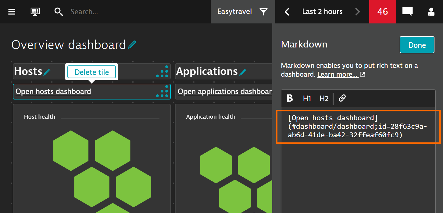Linking to another dashboard using the Markdown tile