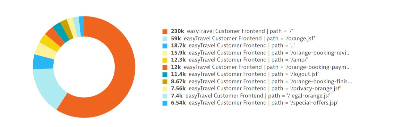 Custom service metric pie chart with custom dimension