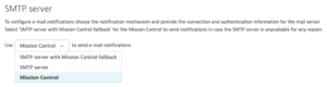 Configuration options for sending email
