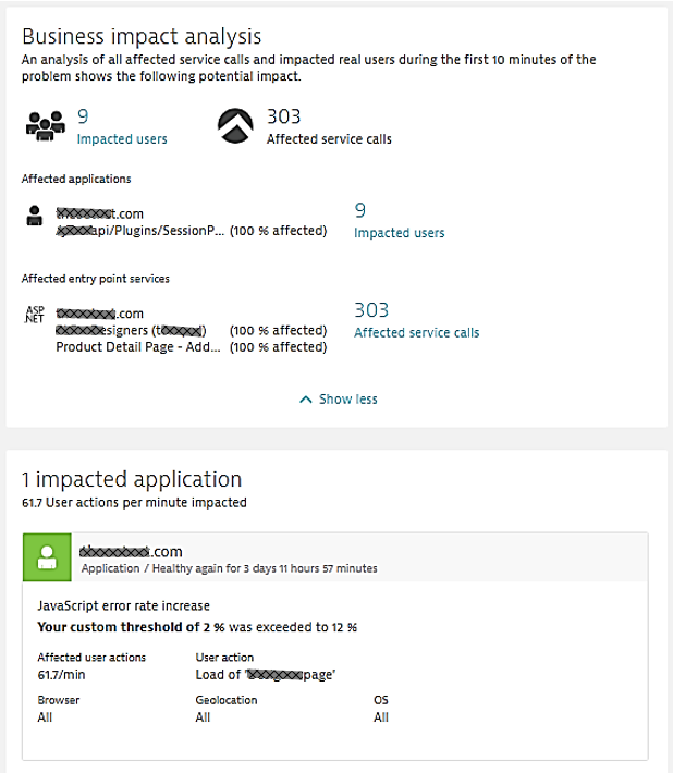 The Problem Impact details tell the Ops Team that there is a 12% failure rate when loading a key product page and that it impacts 9 active users. This helps with classifying the incident into Sev1, Sev2, Sev3 …