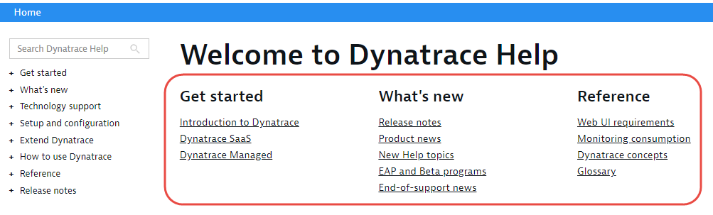Dynatrace Help links