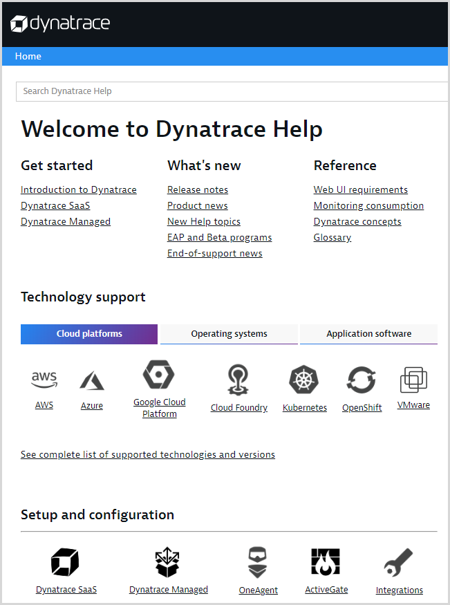 Dynatrace Help Welcome page