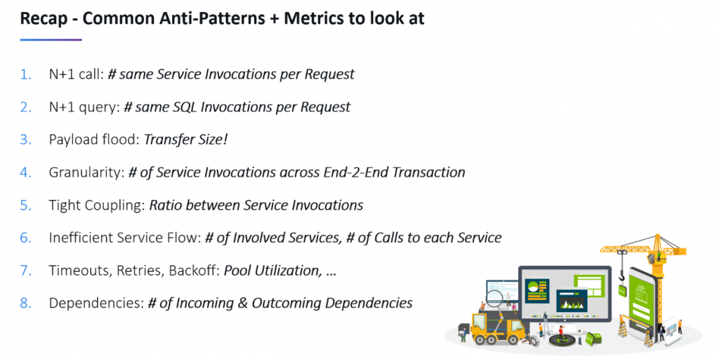 My list of problem patterns and the metrics to look at as presented at DevExperience in Isia, Romania