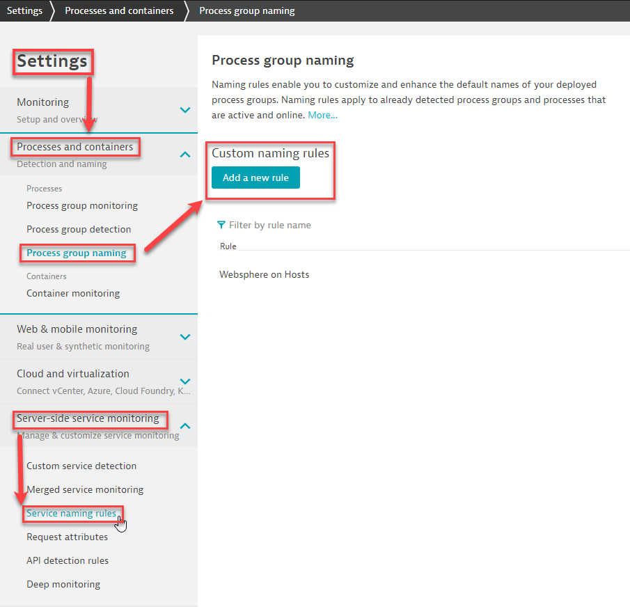 Find the configuration sections for custom service and process group names in the Settings menu