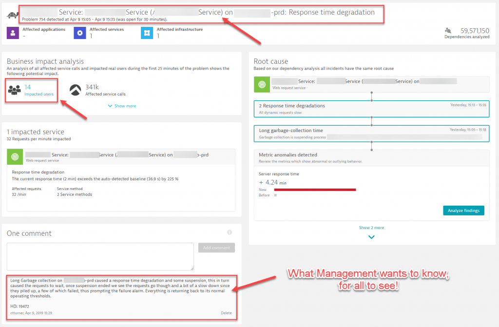 The comment enriched problem ticket eliminates unnecessary status query calls as all status updates are here!