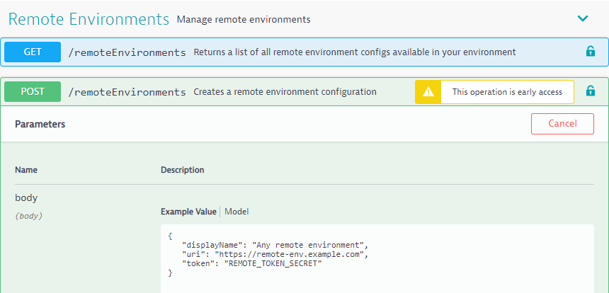 Remote Environments API in API Explorer