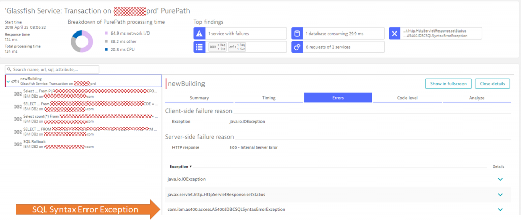 The PurePath shows us all details about the incoming requests, all execute SQL Statements and the exceptions were thrown in this transaction.