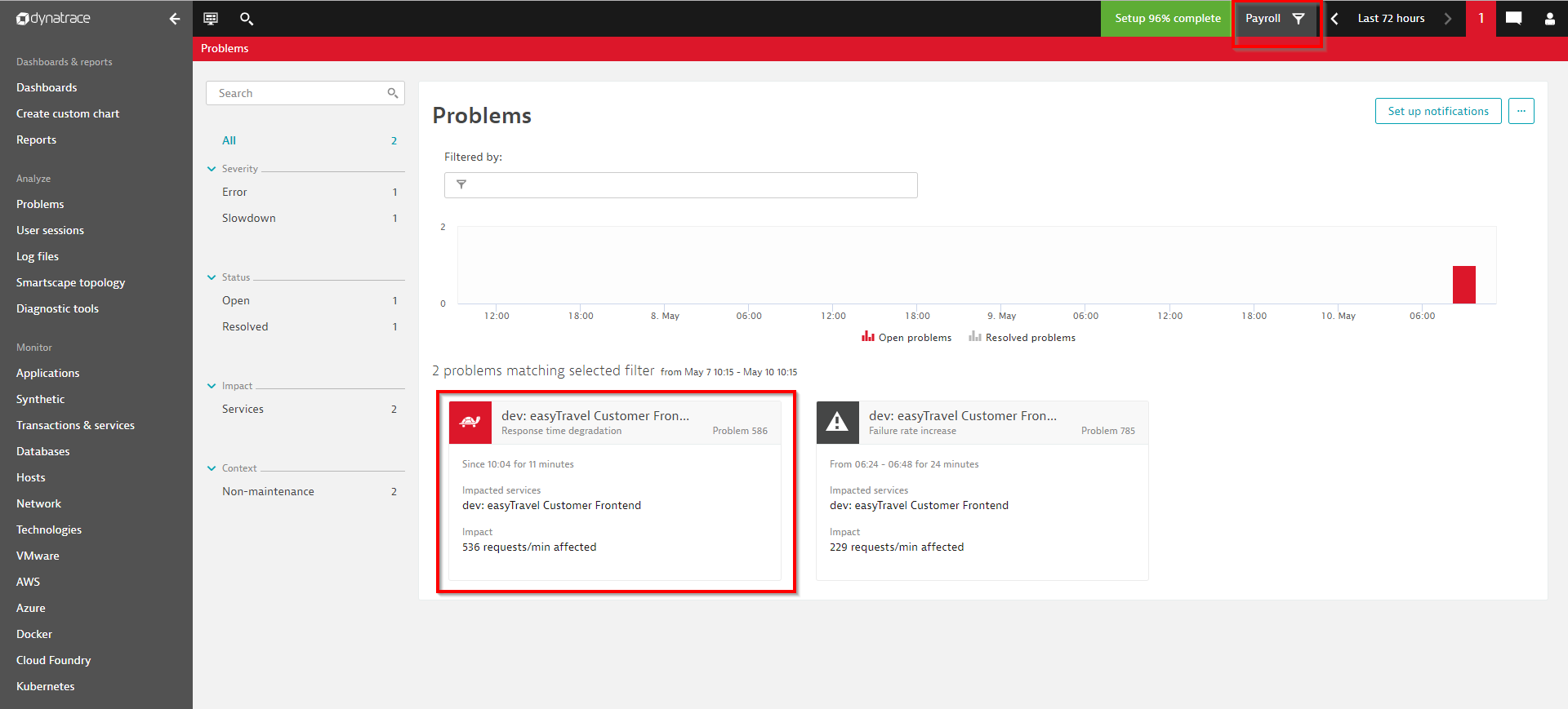 Click the global problem indicator to go to the Problems dashboard for the selected management zone