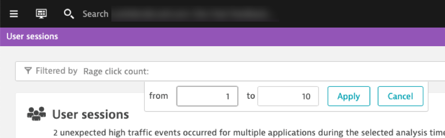 Search for rage clicks in user sessions