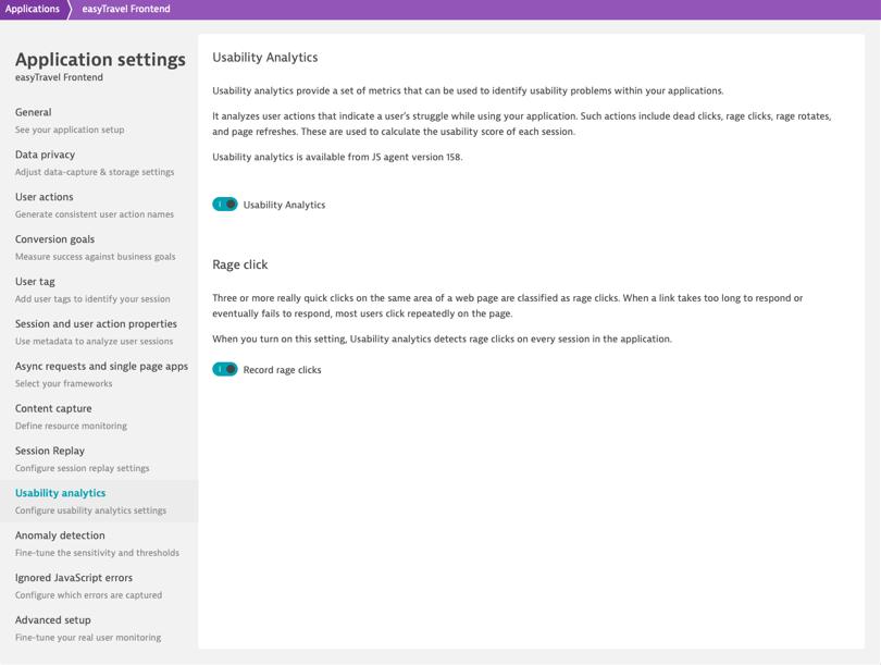 Dynatrace screenshot Application settings - Usability Analytics