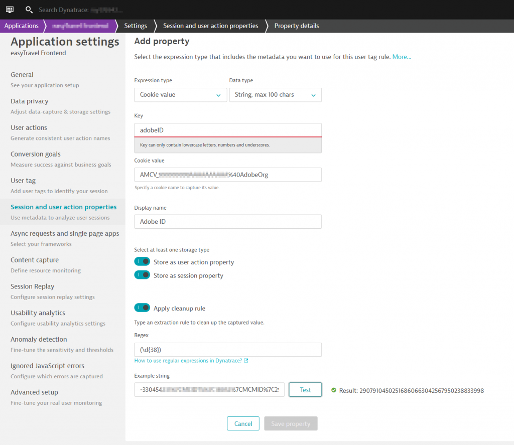 Configuration to capture Adobe Analytics Id
