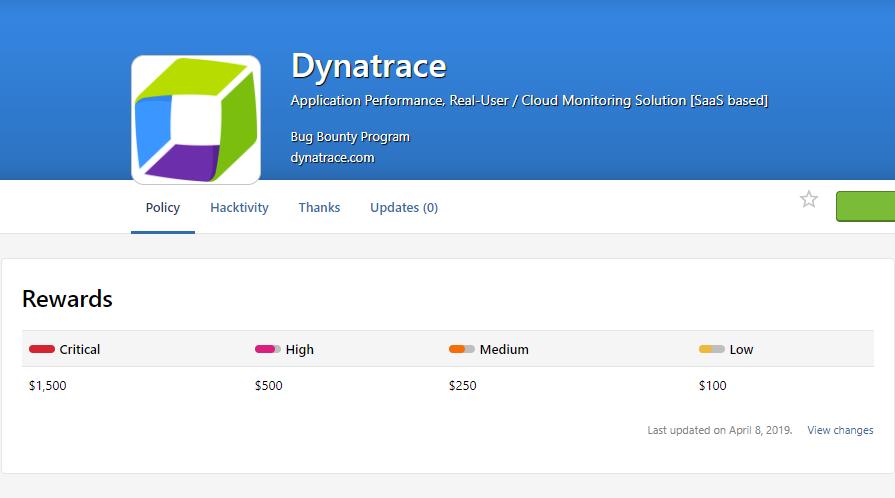 Dynatrace bug bounty program reward table