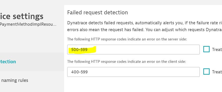 Screenshot Failed request detection
