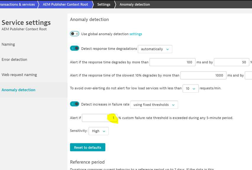 Screenshot Dynatrace anomaly detection