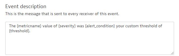 Configuring the custom event's description message
