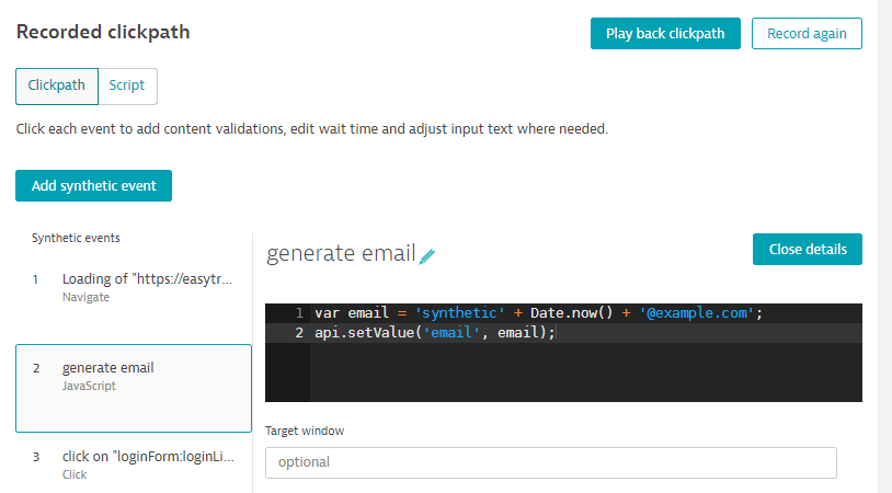 JavaScript event to generate a dynamic email address