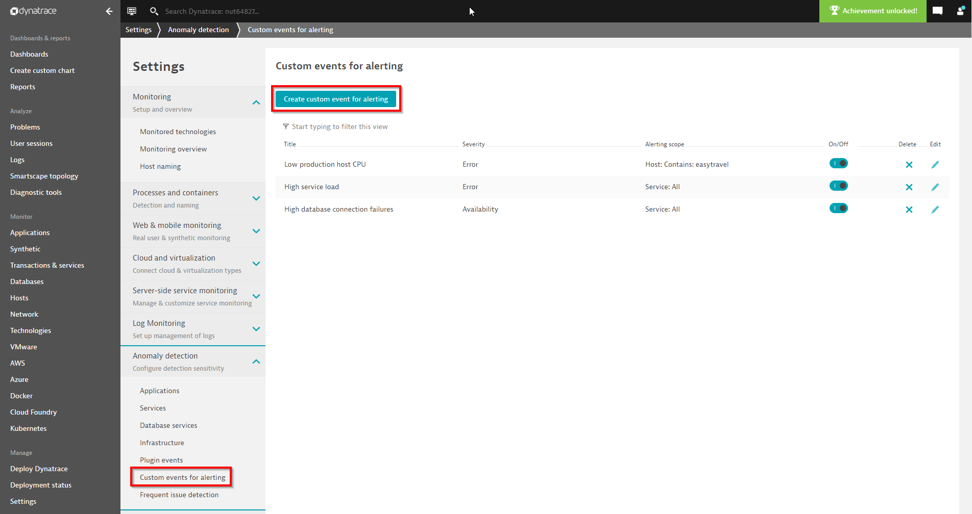 Where to define a custom event for alerting