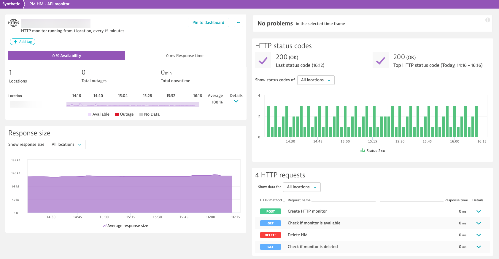 Using an HTTP monitor to test the Dynatrace Synthetic API