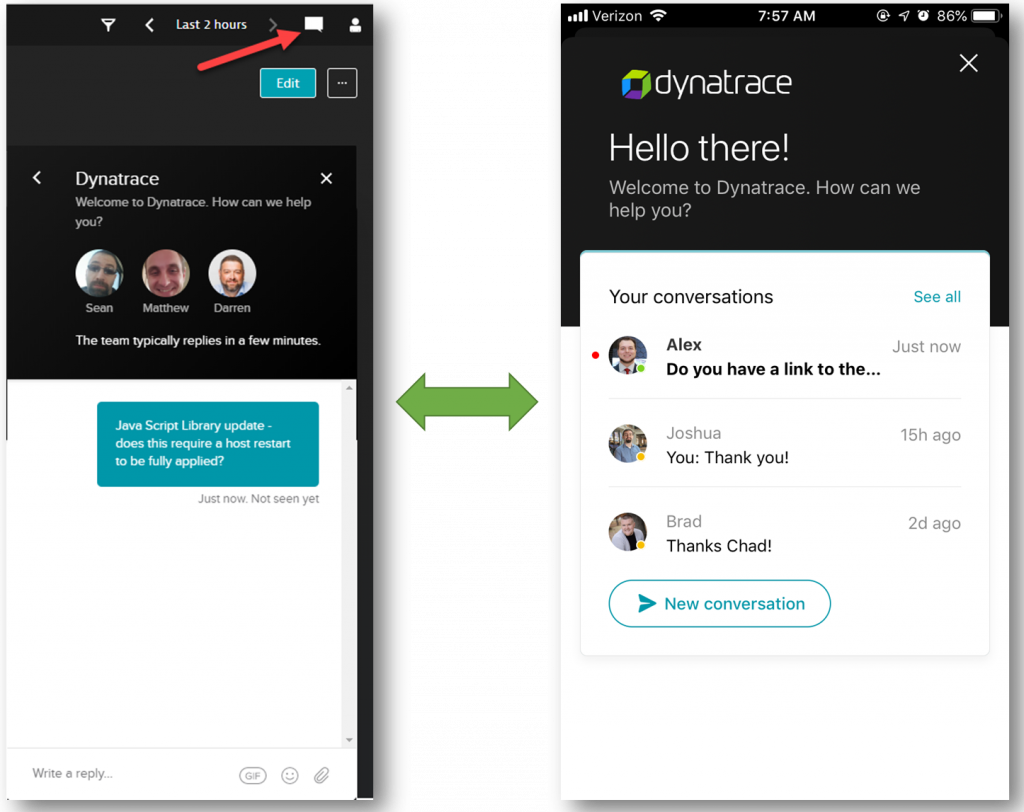 Chat is available in the Mobile App as well as in the Dynatrace Web UI allowing you to start or continue a conversation where it is most convenient for you!