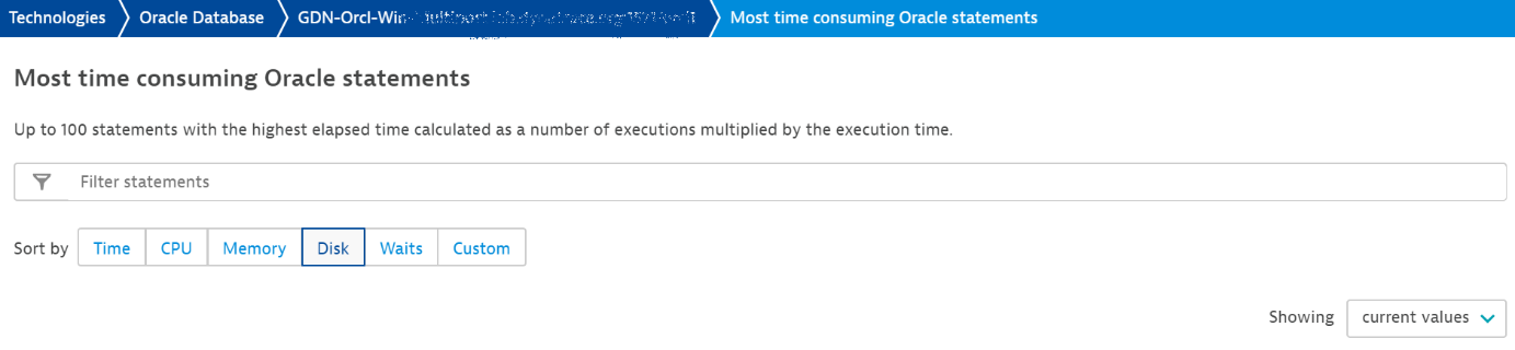 How to find disk-heavy queries in the Most time consuming Oracle statements page