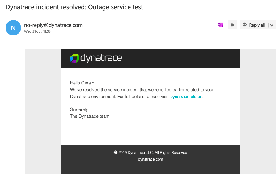 Outage resolution email