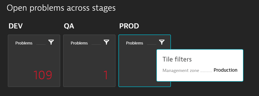 Using the Problems tile with the management zone filter