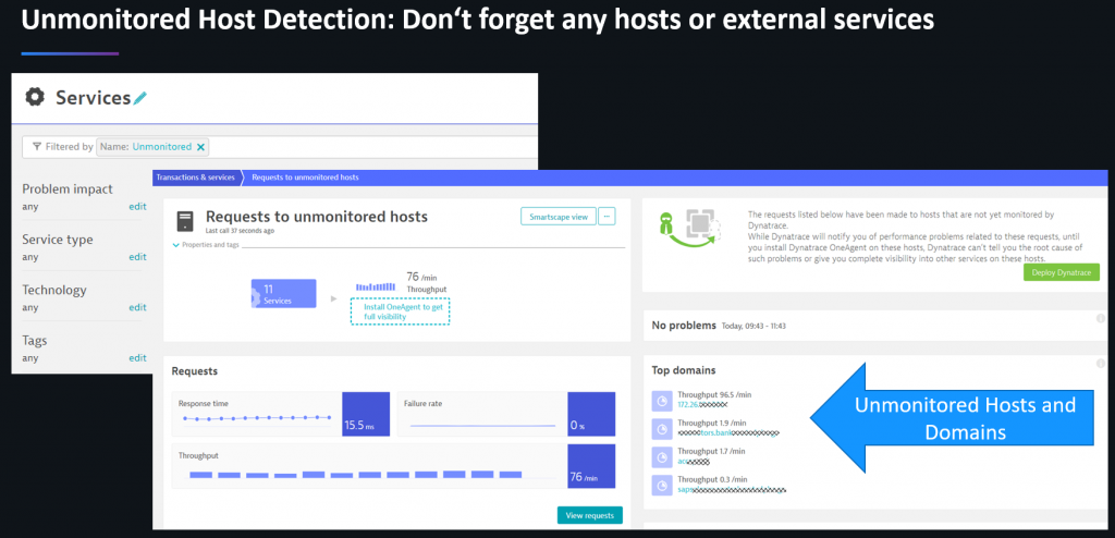 Dynatrace automatically highlights hosts, services and external domains that are currently not monitored!