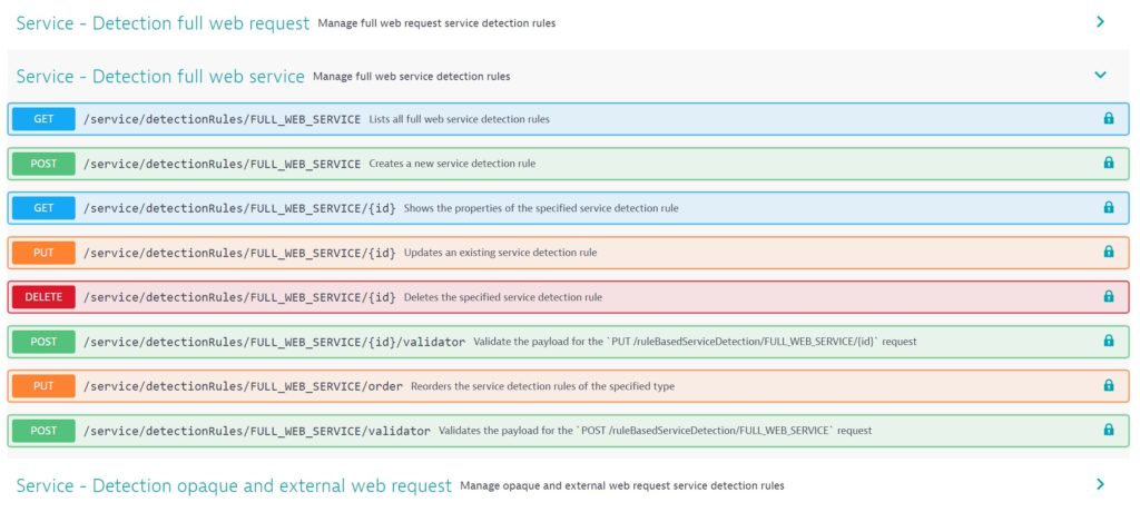 Web service detection API endpoints