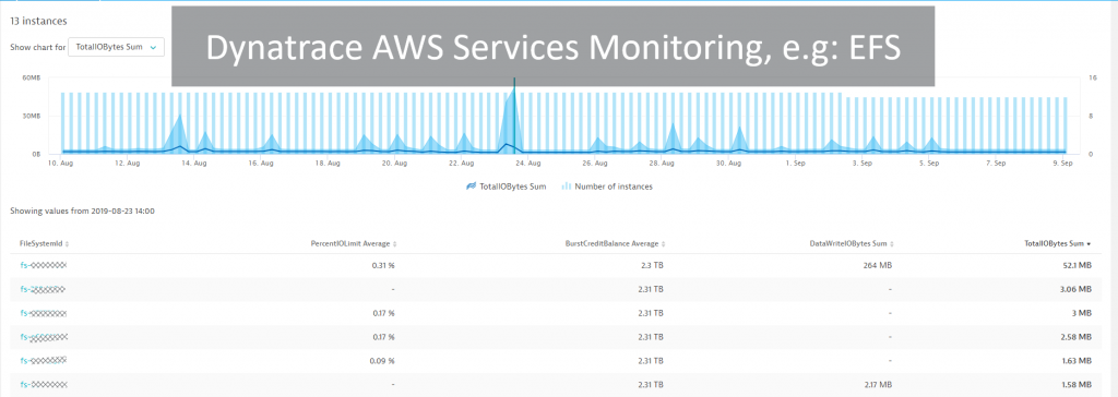 Dynatrace pulls in data from all sorts of AWS Services such as EFS …
